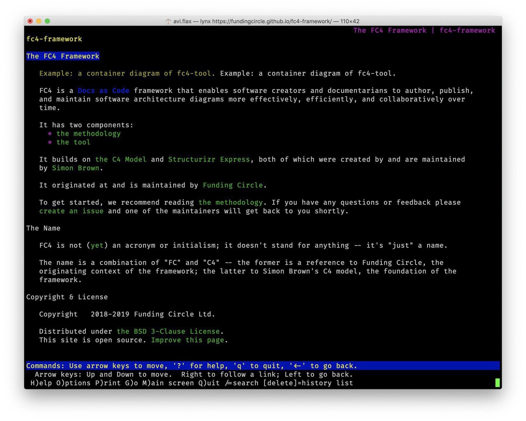 Screenshot of the homepage of the FC4 Framework loaded in Lynx in a MacOS (10.14 Mojave) Terminal window.
