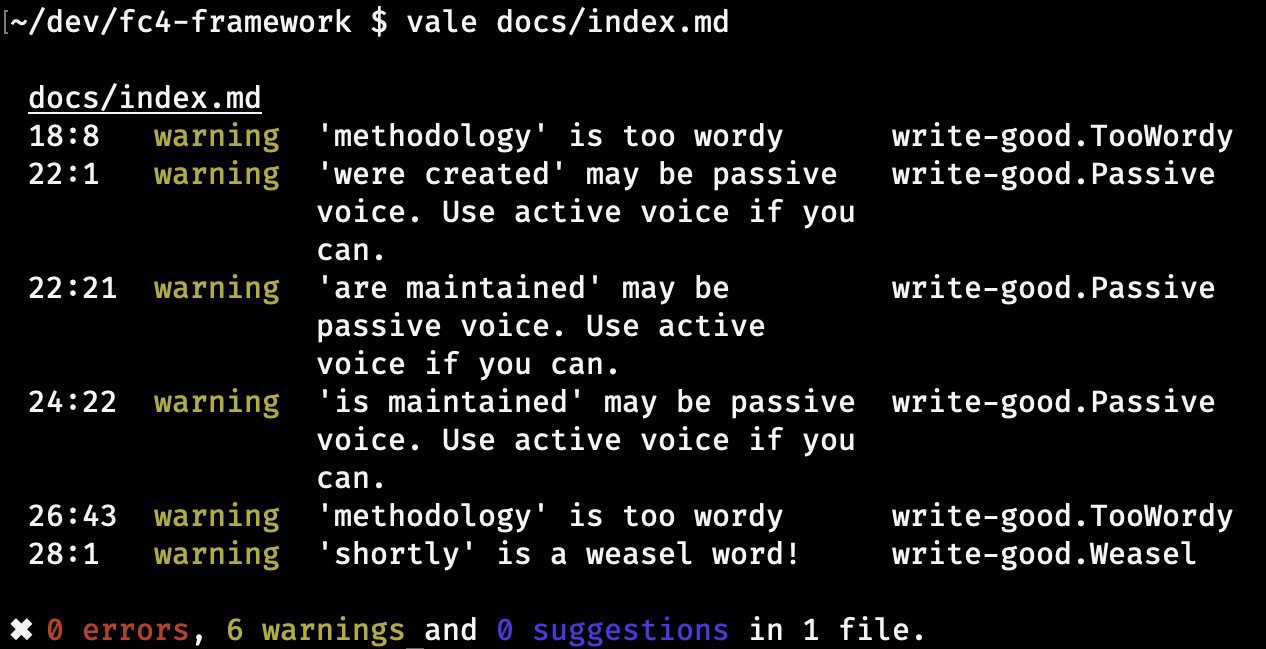 Screenshot of results of running Vale on the homepage of the FC4 Framework, showing 0 errors, 6 warnings, and 0 suggestions via the write-good style. Of those 6 warnings, 2 are TooWordy, 3 are Passive, and 1 is Weasel.