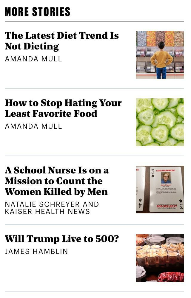 "Screenshot of a ""More Stories"" sidebar showing a list of clickbait headlines, from an article page on theatlantic.com."