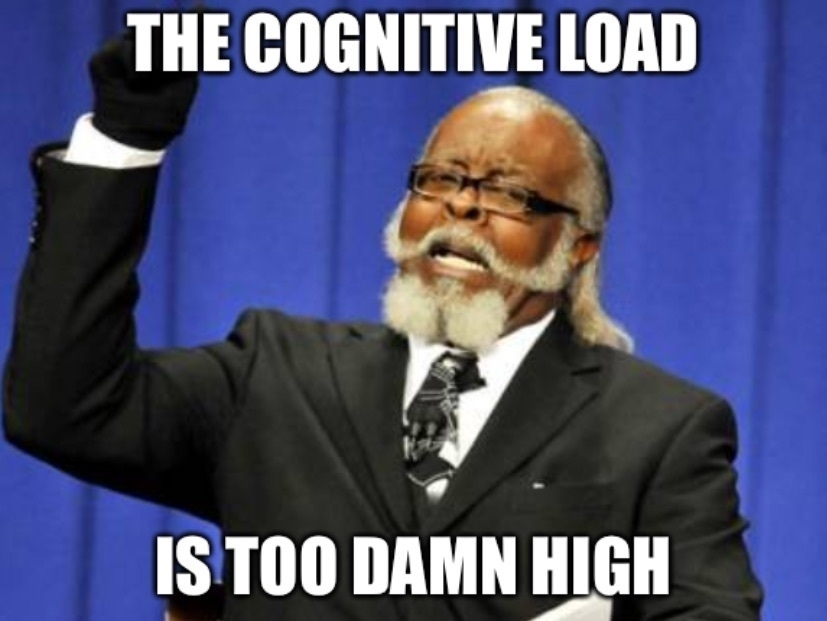 "Image macro: photo of an irate Jimmy McMillan, founder of New York's The Rent Is Too Damn High party, overlaid with the text ""THE COGNITIVE LOAD IS TOO DAMN HIGH"""